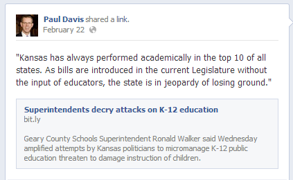 Paul Davis Facebook Post, February 22, 2013