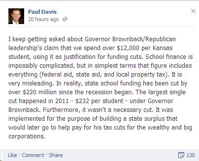 Paul Davis Facebook Posting