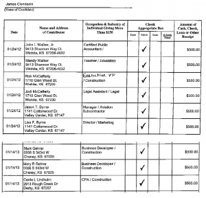 Stacked campaign contributions received by James Clendenin from parties associated with Key Construction. Click for larger version.