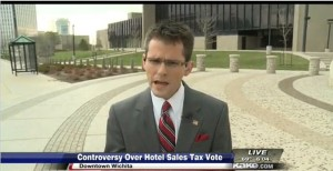 KAKE Television news story: Controversy over hotel sales tax vote