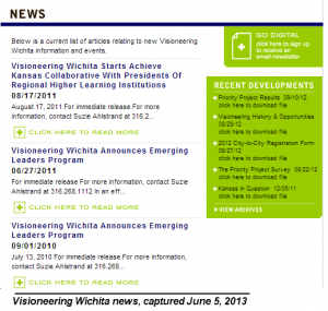 Visioneering News, captured June 5, 2013