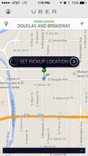 Requesting a driver in Wichita using Uber. It's not available.