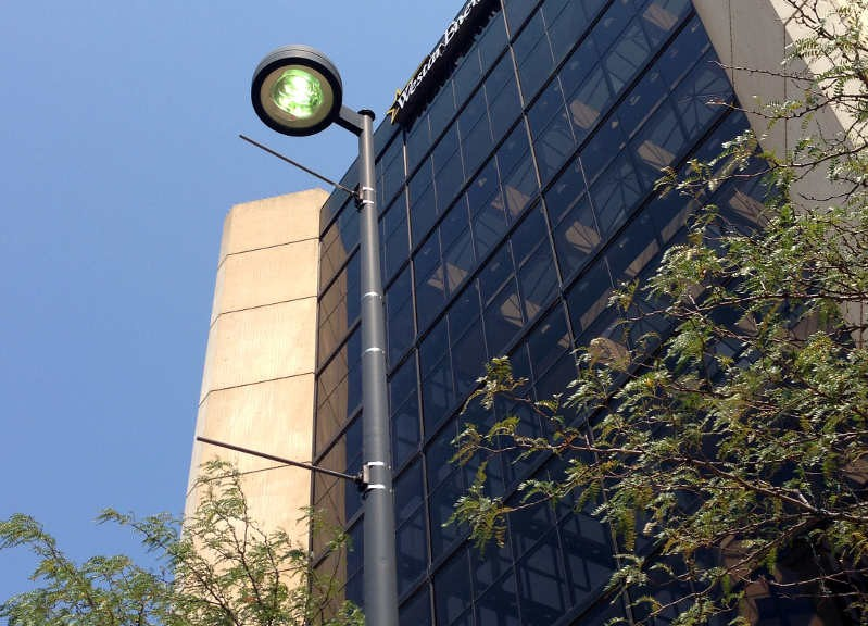 A street light in downtown Wichita, July 22, 2014.