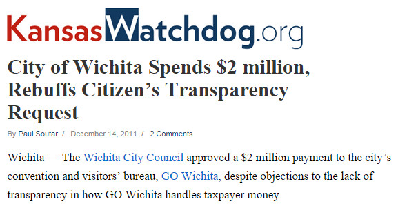 City of Wichita Spends 2 million Rebuffs Citizen's Transparency Request