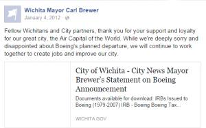 Wichita Mayor Carl Brewer Facebook 2012-01-04