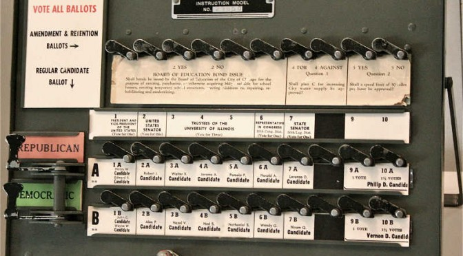 Voting machine old style levers