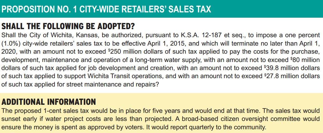 Wichita proposed sales tax ballot language example