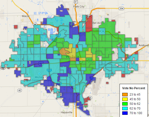 Wichita sales tax election no vote percentage precinct map 2014-11-04