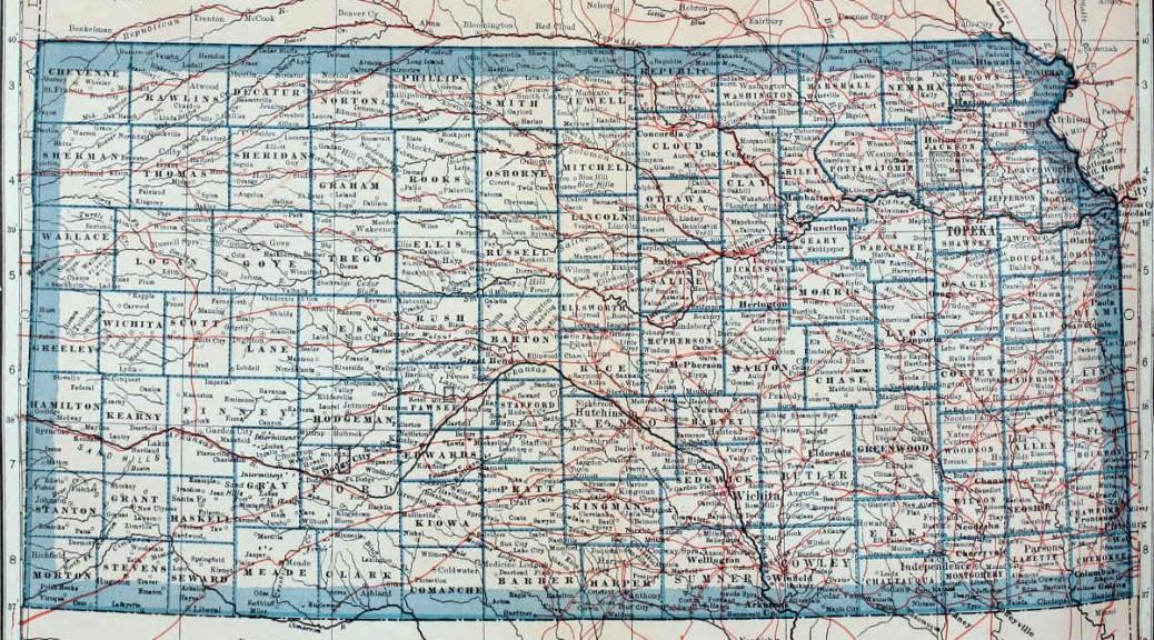 Kansas map 1921 1200