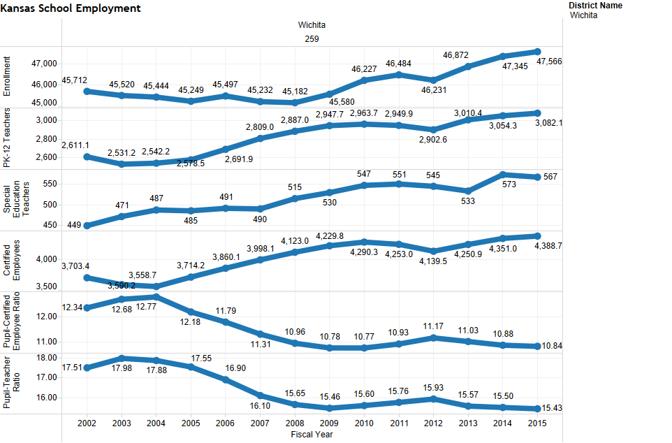 Enrollment and employment statistics for the Wichita school district.