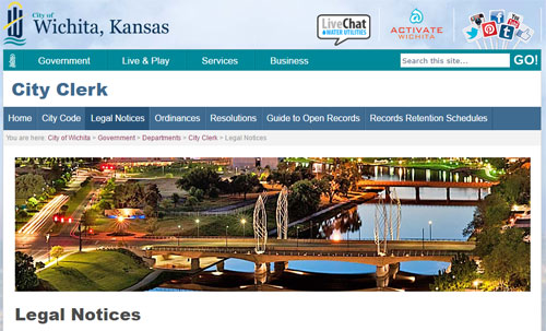 Wichita city clerk legal notices page