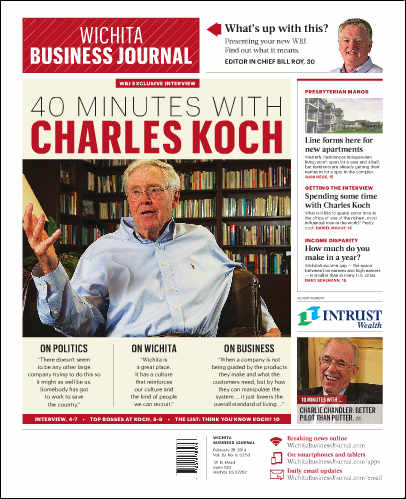 Wichita Business Journal remodels, features Charles Koch interview