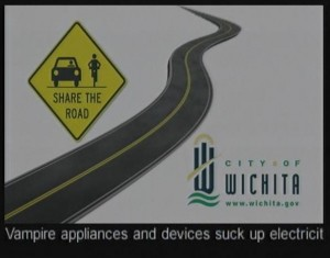 Public service announcement crawler on Wichita's cable channel network, June 17, 2014.
