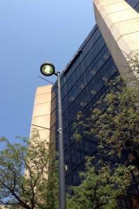 A street light in downtown Wichita, July 22, 2014.