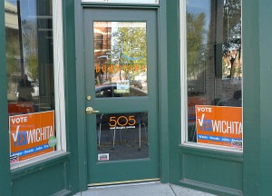 Campaign activity at the office of the Wichita Downtown Development Corporation.
