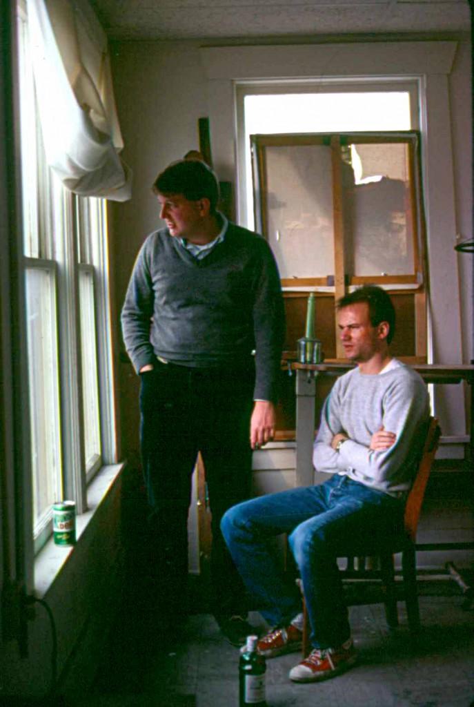 Bob Weeks and Bill Goffrier in the artist's studio, Flatiron Building, Wichita, 1982