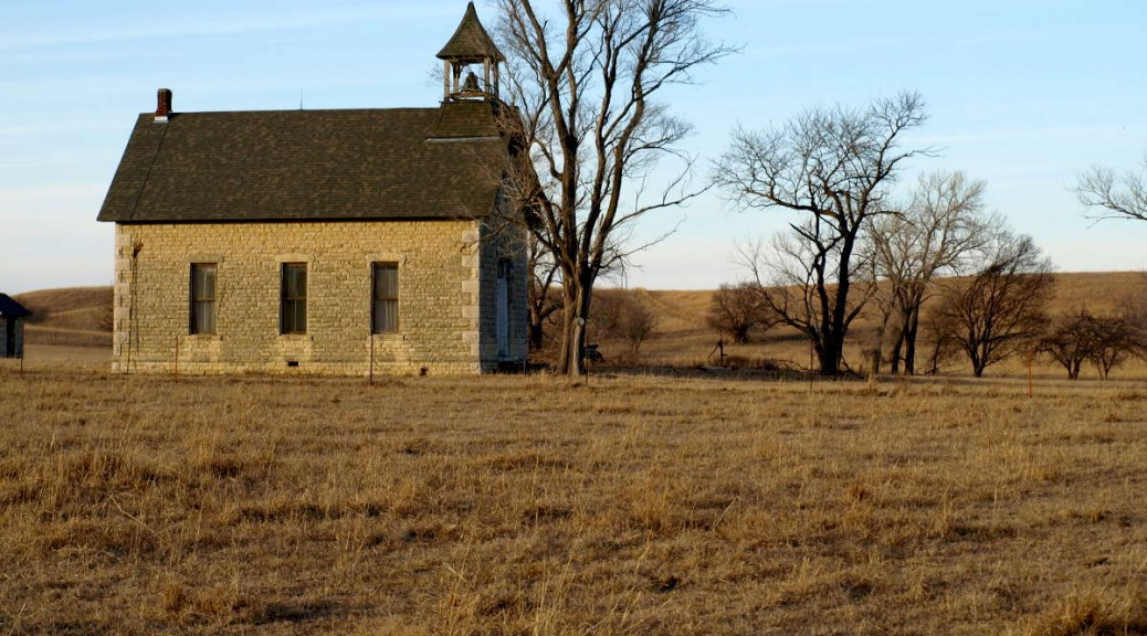 Kansas schoolhouse in Flint Hills