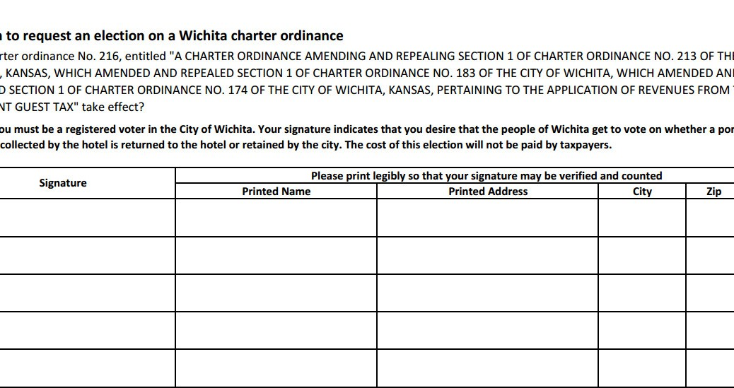 petitions template - wichita has examples of initiative and referendum