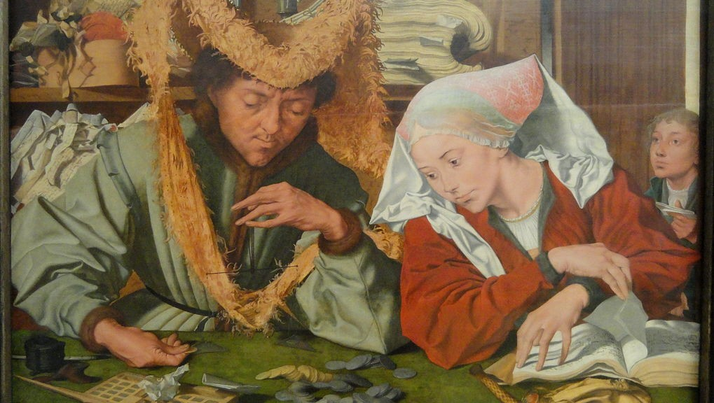 The Tax Collector and His Wife by Marinus van Reymerswale Statens Museum for Kunst