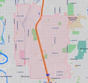 Zip code 67214 in Wichita from Google maps