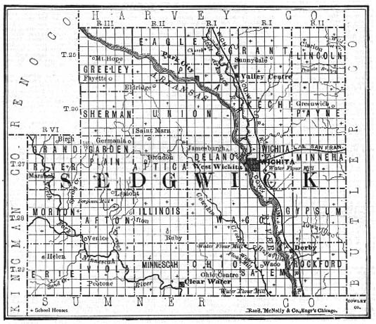 Sedgwick County townships map, historical