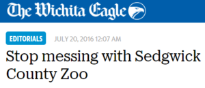 Stop messing with Sedgwick County Zoo
