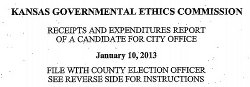 Kansas local office campaign finance report example